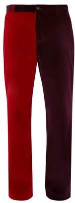 Aries Bi Colour Velvet Chino Trousers - Mens - Red Multi