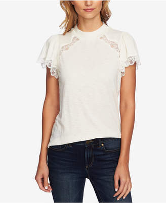 CeCe Mock Neck Lace Top