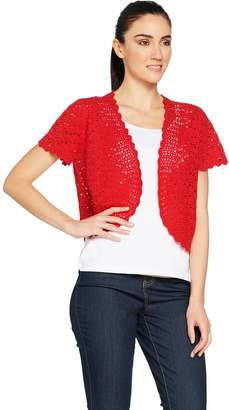 Susan Graver Hand Crochet Short Sleeve Shrug