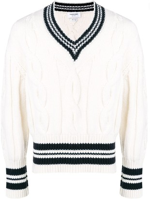 Thom Browne Cricket Stripe V-Neck Pullover