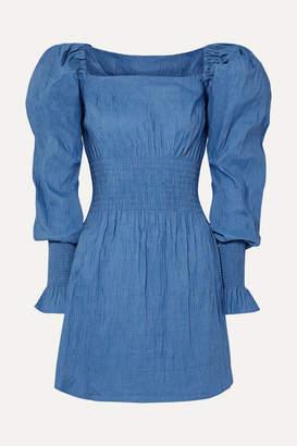 Everly Anna Quan Shirred Crinkled Stretch-jacquard Mini Dress