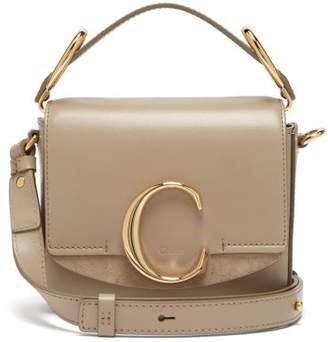 Chloé The C Mini Leather And Suede Shoulder Bag - Womens - Grey