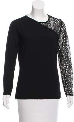 Emilio Pucci Lace-Accented Long Sleeve Sweater