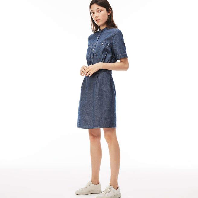 Damen-Kleid aus Baumwoll-Chambray mit Mandarinkragen L!VE