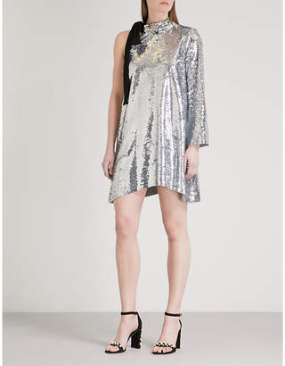 Mo&Co. One-shoulder sequined mini dress