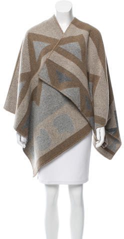 Burberry Burberry Patterned Wool Cape