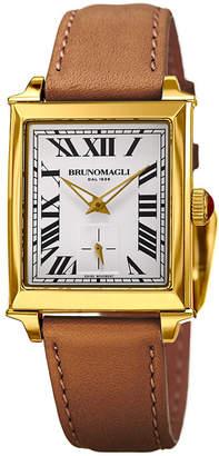 Bruno Magli 27mm Valentina Rectangular Watch, Light Brown/Gold