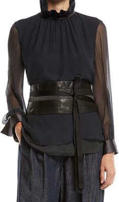 Brunello Cucinelli Tie-Front Leather Corset Belt w/ Monili Trim