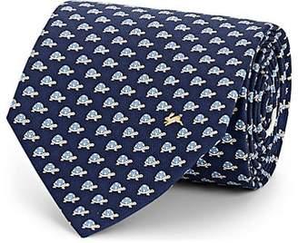 Salvatore Ferragamo Men's Turtle-Print Silk Twill Necktie - Navy