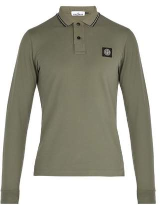 Stone Island Long Sleeved Stretch Cotton Pique Polo Shirt - Mens - Khaki