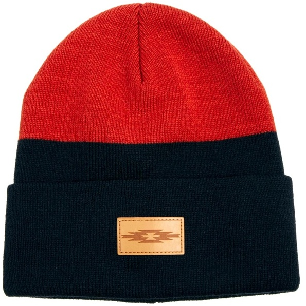 Asos Beanie Hat in Colour Block with Patch - Orange