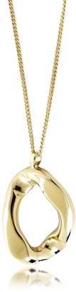 Pluma Golden Brass Link Pendant Long Necklace