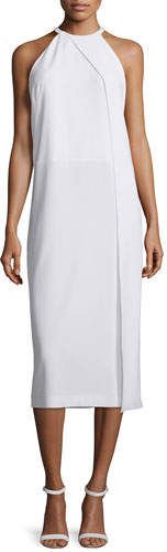 DKNY Sleeveless Draped Crepe Midi Dress, White
