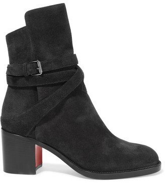 Christian Louboutin - Karistrap 70 Suede Ankle Boots - Black $1,095 thestylecure.com