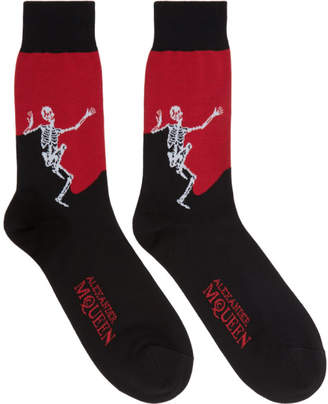 Alexander McQueen Black and Red Dancing Skeleton Socks