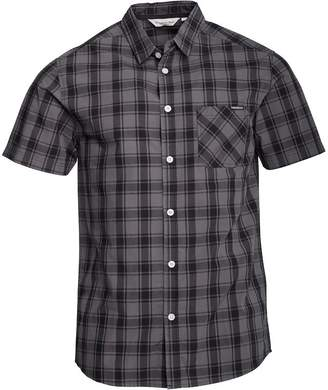 Kangaroo Poo Mens Yarn Dyed Checked Short Sleeve Shirt Black/Grey