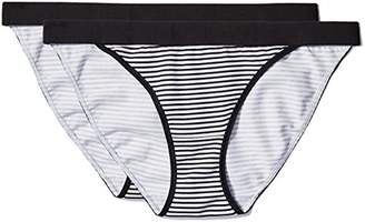 Iris & Lilly Women's Cotton Bikini with Contrast Waistband