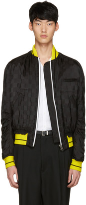 Haider Ackermann Black Jacquard Check Bomber Jacket $1,750 thestylecure.com