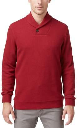 Tasso Elba Mens Pique Ribbed Trim Shawl-Collar Sweater Red M