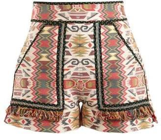 Talitha - Aztec Jacquard Cotton Blend Shorts - Womens - Orange Multi