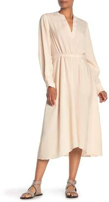 Vince Split Neck Long Sleeve Poet Dress