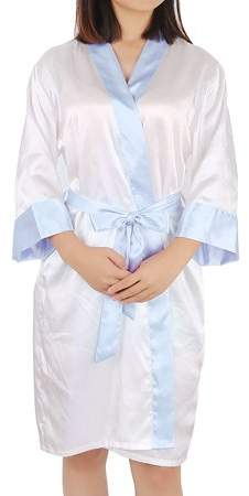 Unique Bargains Vintage Floral Satin Robe Dressing Gown Rayon Wedding (White+Light Blue, XL)