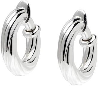 """Ultrafine UltraFine Silver 3/4"""" Twisted Clip-On Hoop Earrings"""