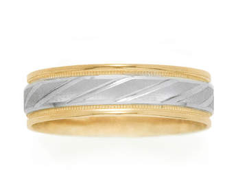 JCPenney MODERN BRIDE Womens 10K Two-Tone Gold Polished & Brushed Laser-Cut Wedding Band
