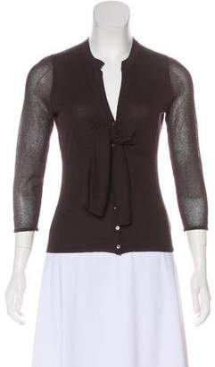 Magaschoni Knit Button-Up Top