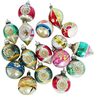 One Kings Lane Vintage 1960's Glass Christmas Ornaments Set of 17 - AntiqueLifestyle