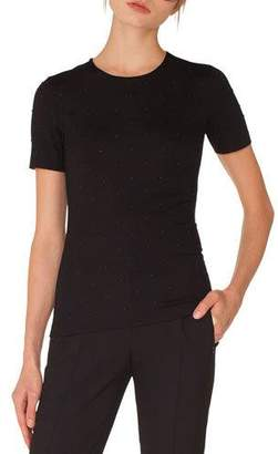 Akris Punto Crewneck Short-Sleeve Studded Jersey Top