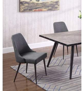 Best Master Furniture Marley Grey Fabric with Metal Dining Side Chair, Set of 2