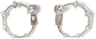 Vince Camuto Silvertone Jeweled Clip-on Hoop Earrings