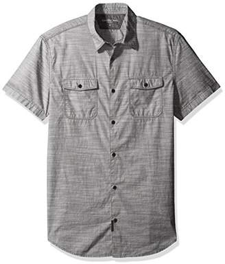 Calvin Klein Jeans Men's Cross Hatch Slub Short Sleeve Button Down Shirt