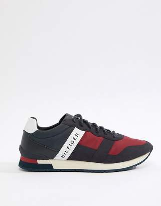 Tommy Hilfiger Icon Colours Logo Mix Materials Runner Sneakers in Red/White/Blue