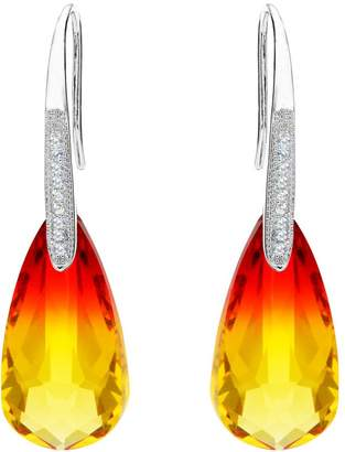 Swarovski EleQueen 925 Sterling Silver CZ Teardrop Hook Earrings Adorned with Crystals