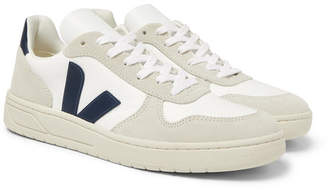 Veja V-10 Suede, Leather And Rubber-Trimmed B-Mesh Sneakers