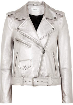 Current/Elliott The Shaina Metallic Textured-leather Biker Jacket