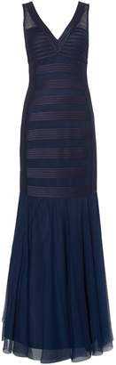 JS Collections Sleeveless Structured Gown With Banding