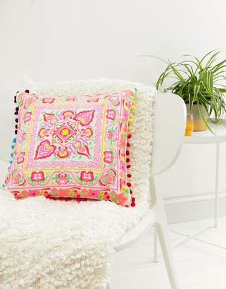 bombay duck Tulum Square Embroidered Cushion