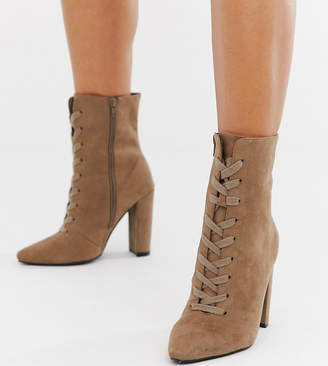 6c8c0147c7 Asos Design DESIGN Wide Fit Elicia lace up heeled boots