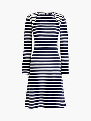 J.Crew Fit And Flare Stripe Dress, Navy/Ivory