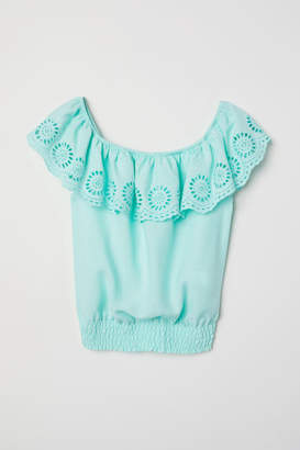 H&M Blouse with Eyelet Embroidery - Green