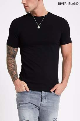 River Island Mens Short Sleeve Muscle Crew Tee - Black