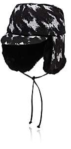 Eugenia Kim Women's Sammy Faux-Fur-Trimmed Cotton-Blend Trapper Hat-Black
