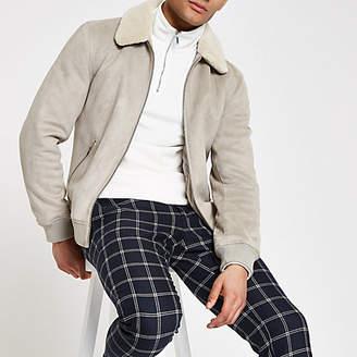 River Island Mens Grey faux suede borg collar jacket