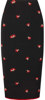 Victoria Beckham Floral-jacquard Pencil Skirt - Black