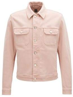 BOSS Hugo Fitted jacket in colored stretch denim M Light Red