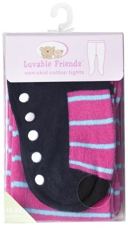 Luvable Friends Infant Toddler Girls' Mary Jane Non Skid Tights - Pink