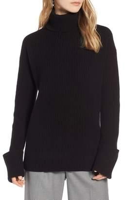 Halogen Wide Cuff Turtleneck Cashmere Sweater